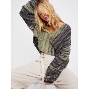Free People Cotton Amethyst Sweater in Green Combo